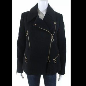 Cholé Black Wool Moto Winter Coat with Gold Detail